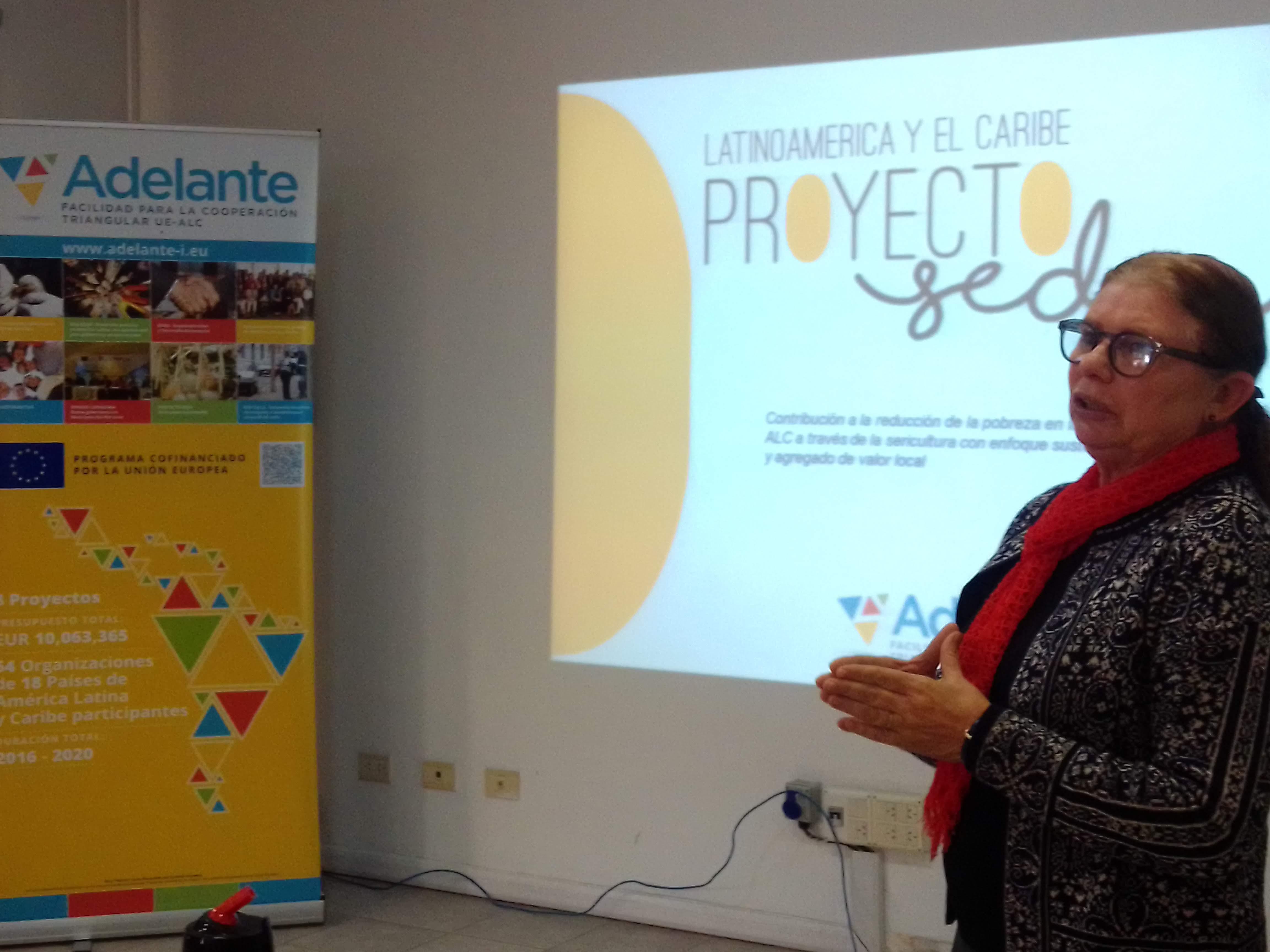 La coordinadora técnica del Proyecto Seda dió la bienvenida al evento y expuso sobre la feria textil ITMA, Barcelona 2019 y el Congreso ICNF, Portugal 2019.