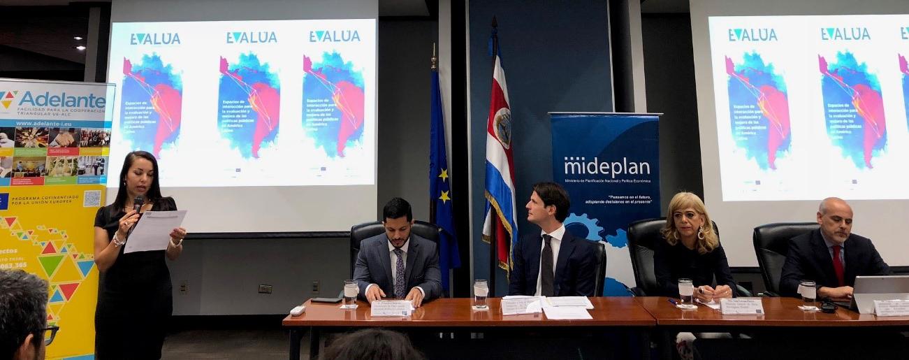 Ericka Valerio de la Unidad de Evaluación de MIDEPLAN destaca la pertinencia y relevancia de esta evaluación, así como las actividades realizadas en el marco del Grupo de EVALÚA.