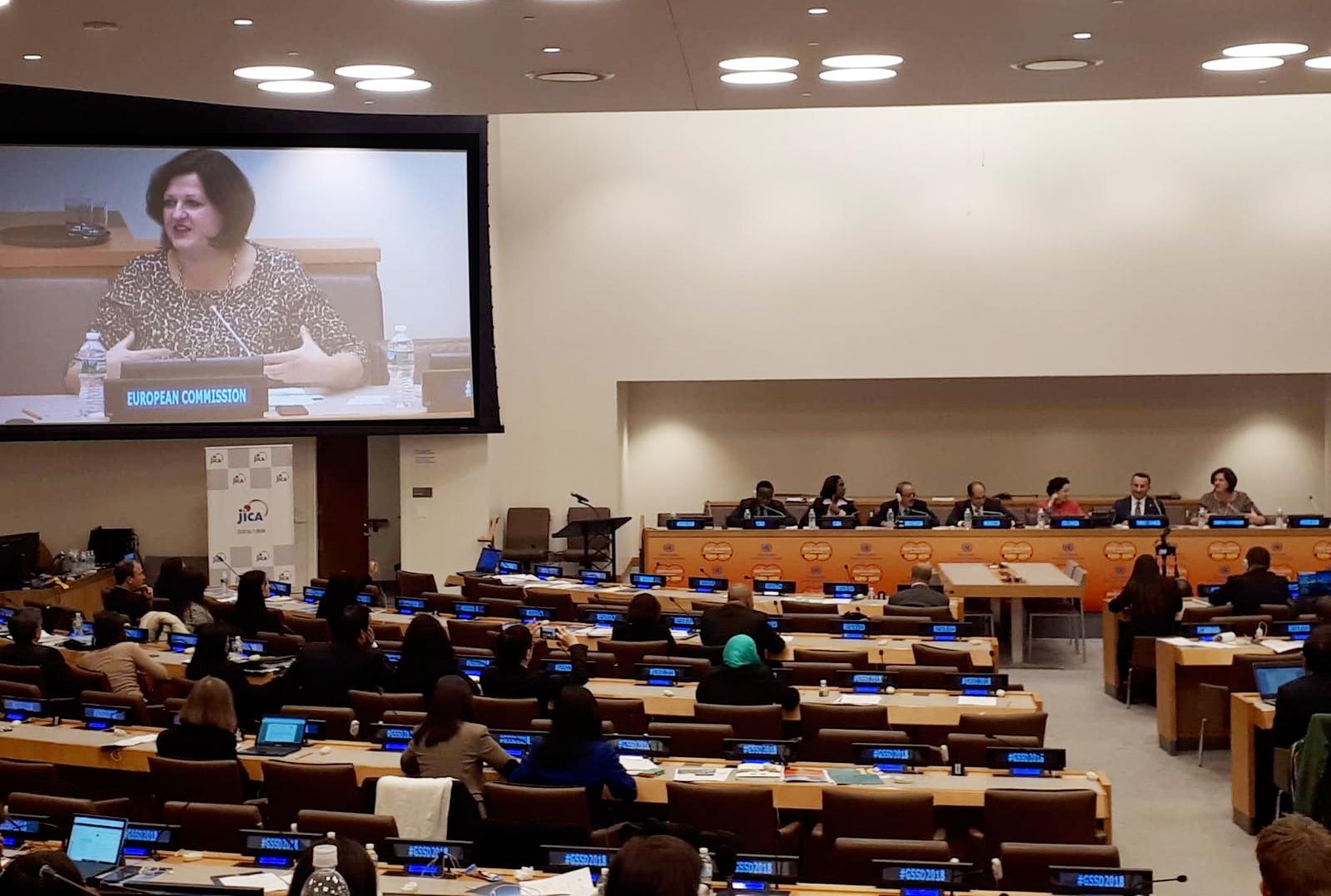 """La Sra. Jolita Butkeviciene en el evento sobre CSS en el ámbito regional destacó el papel clave de la UE a través de la Cooperación Triangular, enmarcada en principios y acuerdos de NNUU y con los ODS como referencia, como un vehículo hacia un """"healty multilateralism""""."""