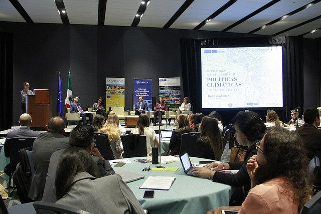 Marie Augouy, Jefa de la Sección de Cooperación de la Unión Europea en México, durante sus palabras de inauguración.