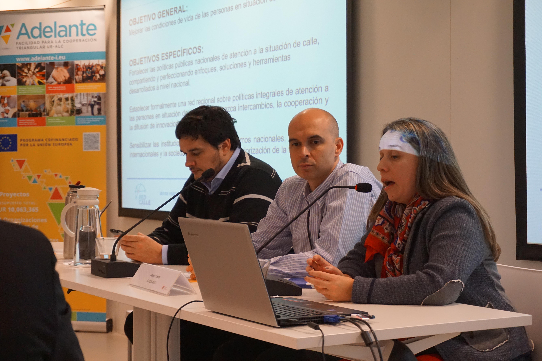 El equipo del proyecto RedCalle: Pedro Schinca, Eduardo Barreto y Yanella Posente.
