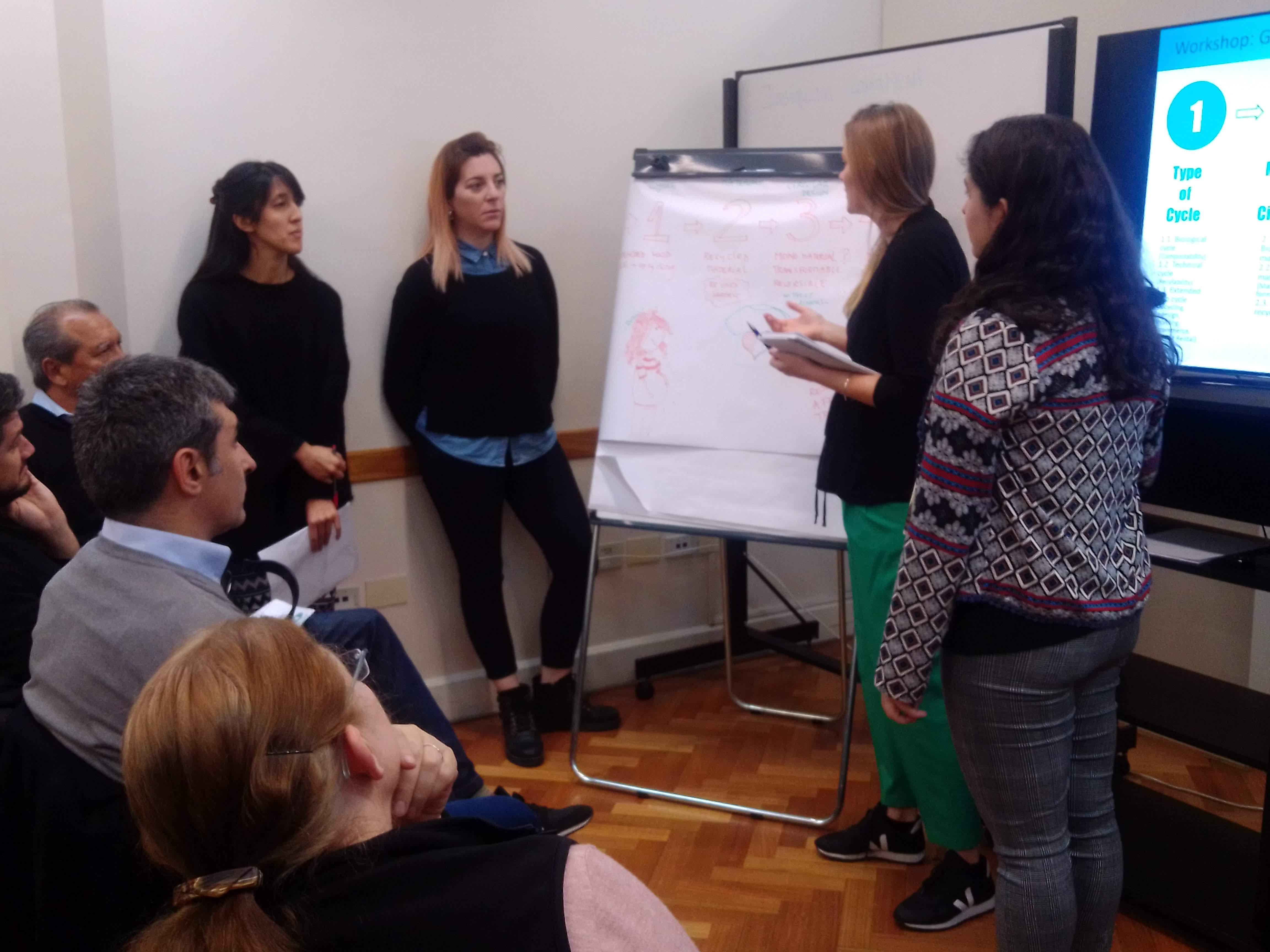 Los asistentes al workshop presentaron sus ideas innovadoras para un diseño circular frente al grupo de trabajo y recibieron los comentarios de la asesora en economía circular y sustentabilidad.