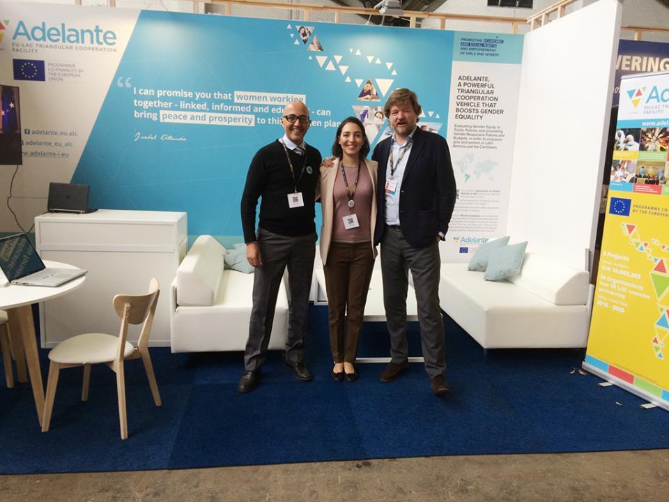 El equipo de Asistencia Técnica de ADELANTE: Laura Cabral, Javier Gavilanes y Hicham Boughdadi.